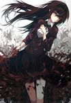 1girl akemi_homura black_hair blood bloody_tears flower hand_on_own_chest long_hair mahou_shoujo_madoka_magica mahou_shoujo_madoka_magica_movie red_eyes solo spider_lily zen_o