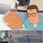 cotton_hill death hank_hill helmet hospital hospital_bed hospital_gown king_of_the_hill shovel soldier team_fortress_2
