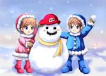1boy 1girl :d blue_eyes blush_stickers boots brown_hair ears facial_hair grin hat ice_climber ice_climbers mario mittens mustache nana_(ice_climber) open_mouth parka popo_(ice_climber) scarf short_hair sigurdhosenfeld smile snow snowball snowing snowman super_mario_bros. super_smash_bros.