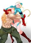 1boy 1girl ahoge alex blonde_hair blue_eyes braid breast_smother breasts cammy_white grin heart highres large_breasts long_hair nipples otzer pussy_juice smile street_fighter twin_braids very_long_hair