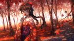 1girl autumn autumn_leaves bangs black_hair blue_eyes blurry_foreground bow braid commentary_request day dutch_angle falling_leaves floating_hair forest glasses hair_bow hakama_skirt hand_up highres holding holding_leaf japanese_clothes ji_dao_ji kimono leaf long_hair long_sleeves looking_at_viewer maple_leaf nature nijisanji open_mouth orange-framed_eyewear outdoors pavement print_kimono red red_bow red_kimono round_eyewear sidelocks solo striped striped_bow tree tree_shade tsukino_mito twin_braids twintails virtual_youtuber wide_shot wide_sleeves