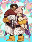 2boys ^_^ animal aqua_background bee_(dragon_ball) black_hair boots cape carrying cheek-to-cheek closed_eyes dog dragon_ball dragonball_z eyes_closed facial_hair full_body gloves happy heart heart_background hug kinjuu_(hariharitt) majin_buu male_focus mr._satan multicolored multicolored_background multiple_boys mustache pink_background smile standing white_background yellow_gloves