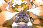 2girls animal_ears blonde_hair breast_smother breasts brown_eyes brown_hair cat_ears chen dress fox_tail hat hat_with_ears hug hug_from_behind large_breasts long_sleeves mob_cap multiple_girls multiple_tails open_mouth slit_pupils smile tabard tail touhou white_dress wide_sleeves yakumo_ran ysk!