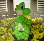 2017 3_toes 3d_(artwork) anthro anus banana blue_eyes cinnamoncookies digital_media_(artwork) eating food fruit green_body green_yoshi hi_res inside kneeling looking_at_viewer looking_back male mario_bros nintendo nude rear_view solo toes video_games yoshi