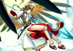 armor athena_(p&d) belt dress flying gauntlets gradient gradient_background greaves green_hair helmet holding holding_weapon long_hair looking_at_viewer nuda polearm puzzle_&_dragons red_eyes sandals sheath solo spear sword weapon white_dress wings