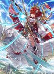 1girl armor arrow bangs bird blue_sky boots bow_(weapon) bridal_gauntlets closed_mouth cloud cloudy_sky commentary_request company_name copyright_name day feather_trim fire_emblem fire_emblem_cipher fire_emblem_if hagiya_kaoru hinoka_(fire_emblem_if) holding holding_bow_(weapon) holding_weapon japanese_armor japanese_clothes knee_boots looking_at_viewer nintendo official_art outdoors red_eyes red_hair short_hair sky weapon