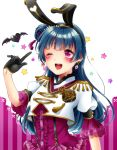 1girl ;d animal_ears bangs bat black_gloves black_hairband blue_hair blush bunny_ears dress_shirt earrings eyebrows_visible_through_hair fake_animal_ears gloves hair_bun hair_ornament hairband halloween_costume jewelry long_hair love_live! love_live!_sunshine!! one_eye_closed open_mouth purple_eyes purple_shirt shiny shiny_hair shirt short_sleeves shuga_(0329tixi) smile solo sparkle suspenders tsushima_yoshiko upper_body white_background