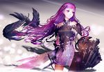 1girl armor armored_dress bird claws crow highres long_hair original purple_eyes purple_hair solo sword weapon yasumikei