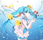 1girl blue_eyes blue_hair bubble dasulchan dress fish flower hair_flower hair_ornament hatsune_miku heart long_hair necktie solo twintails vocaloid