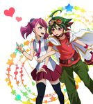 1boy 1girl blue_eyes bracelet goggles goggles_on_head green_hair hiiragi_yuzu jacket_on_shoulders jewelry multicolored_hair nanako_(nnk7) necktie pink_hair red_hair sakaki_yuuya thighhighs yu-gi-oh! yuu-gi-ou_arc-v zettai_ryouiki