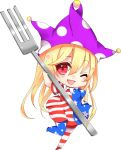 ;d american_flag_dress american_flag_legwear arm_up bangs blonde_hair blue_dress blue_legwear blush breasts chibi clownpiece commentary_request dress eyebrows_visible_through_hair fork full_body hair_between_eyes hand_on_hip hat heart highres holding holding_fork jester_cap leg_up long_hair looking_at_viewer natsuki_(ukiwakudasai) neck_ruff no_shoes one_eye_closed open_mouth pantyhose polka_dot polka_dot_hat purple_hat red_dress red_eyes red_legwear short_sleeves simple_background small_breasts smile solo star star_print striped striped_dress striped_legwear thighs touhou white_background white_dress white_legwear