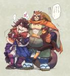 2018 anthro blush brown_fur canine clothed clothing dog eyes_closed footwear fur fuyoudo624 group gyobu hat hug human humanoid_hands japanese_text leaf male mammal overweight overweight_male protagonist_(tas) robe sandals scar shino_(housamo) tanuki text tokyo_afterschool_summoners