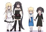 4girls :d age_progression amano_kouki asymmetrical_gloves bare_shoulders belt belt_buckle black_dress black_footwear black_gloves black_hair black_legwear blonde_hair blue_eyes blue_skirt blush boots brown_belt buckle closed_mouth collarbone commentary_request cross cross-laced_footwear cross_necklace dress elbow_gloves flying_sweatdrops fur-trimmed_dress gloves hand_holding heterochromia highres jewelry lace-up_boots latin_cross long_hair multiple_girls necklace note-chan open_mouth original pantyhose purple_eyes round_teeth shirt short_hair single_elbow_glove skirt smile standing strapless strapless_dress teeth thighhighs twintails upper_teeth very_long_hair white_background white_dress white_legwear white_shirt white_sleeves