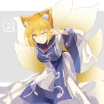 1girl 2 ;) animal_ear_fluff animal_ears arm_up bangs blonde_hair breasts commentary_request dress eyebrows_visible_through_hair feet_out_of_frame fox_ears fox_tail frilled_shirt_collar frills grey_background grin hair_between_eyes highres large_breasts leaning_forward long_sleeves looking_at_viewer multiple_tails no_hat no_headwear one_eye_closed rin_falcon short_hair smile solo spoken_number tail touhou two-tone_background v white_background white_dress wide_sleeves yakumo_ran yellow_eyes