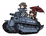 2girls ahoge brown_hair character_name chibi cup double_bun eyes_closed grey_hair ground_vehicle hair_ornament hairclip haruna_(kantai_collection) headgear holding holding_cup holding_saucer kantai_collection kongou_(kantai_collection) long_hair military military_vehicle motor_vehicle multiple_girls nontraditional_miko oriental_umbrella picnic_basket simple_background sparkle tank teacup terrajin type_89_i-gou umbrella white_background