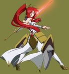 1girl armor armored_dress back bared_teeth blazblue blazblue:_chronophantasma coattails detached_sleeves faulds full_body glowing glowing_sword glowing_weapon hair_tubes highres izayoi_(blazblue) long_hair oomura_(blau89blau) ponytail red_eyes red_hair shield simple_background solo weapon