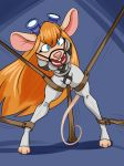 ball_gag bastianmage bdsm bondage bound camel_toe chip_'n_dale_rescue_rangers disney gadget_hackwrench gag hi_res leather mammal mouse rodent solo tagme