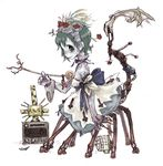birdcage cage flower green_eyes green_hair hairband kikai_(akita_morgue) lolita_fashion monster_girl multiple_legs panties ribbon rose short_hair tail underwear