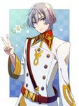 1boy belt character_name checkered checkered_background kakumeiki_valvrave l-elf military military_uniform poshii_(posy) purple_eyes short_hair silver_hair star uniform v