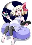 1girl barefoot blonde_hair bow dango dress fang food food_on_face hair_bow kugelschreiber looking_at_viewer open_mouth pregnant red_eyes rumia short_hair sitting sleeveless smile solo touhou wagashi