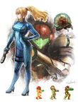 1girl blonde_hair bodysuit full_body hand_on_hip iwanai_tomoeju metroid metroid_(creature) mole pixelated ponytail samus_aran signature solo standing varia_suit zero_suit