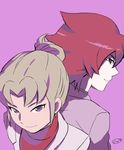 2boys back-to-back face inazuma_eleven_(series) inazuma_eleven_go kiyama_hiroto looking_at_viewer male midorikawa_ryuuji mizuhara_aki multiple_boys older purple_background red_hair simple_background smile