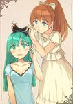 2girls adjusting_bow aqua_eyes black_bow blue_dress blush bow brown_hair collarbone dress formal frilled_sleeves frills green_eyes green_hair hair_bow hair_ornament hairclip kantai_collection kumano_(kantai_collection) long_hair multiple_girls open_mouth peroncho ponytail short_sleeves simple_background suzuya_(kantai_collection) wavy_mouth white_dress