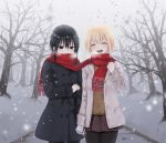 2girls :d ^_^ bangs bare_tree black_coat black_eyes black_hair black_legwear blonde_hair blush breath brown_skirt brown_sweater buttons closed_eyes coat commentary_request couple cowboy_shot day double-breasted enpera eyebrows_visible_through_hair eyes_closed grey_sky hair_between_eyes hand_holding hand_up highres long_coat long_hair long_sleeves looking_down miniskirt multiple_girls open_clothes open_coat open_mouth original outdoors pantyhose path piripun pleated_skirt prosthesis prosthetic_arm red_scarf road scarf shared_scarf side-by-side sidelocks skirt sky smile snow snowing standing sweater tree upper_teeth white_coat wing_collar winter_clothes yuri