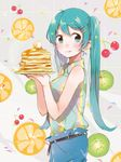 aqua_eyes aqua_hair casual fly_333 hatsune_miku long_hair pancake tongue twintails vocaloid