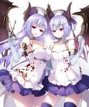 2girls arm_around_waist asymmetrical_docking bandage bare_shoulders blood blood_splatter blood_stain blue_gloves breast_press breasts cowboy_shot demon_wings detached_collar elbow_gloves flat_chest gloves hat horns long_hair looking_at_viewer multiple_girls open_mouth original purple_hair purple_legwear red_eyes science_fiction short_hair single_wing skirt thighhighs wings yuuki_kira zettai_ryouiki