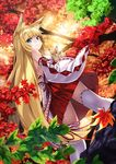 1girl animal_ears autumn_leaves blonde_hair blue_eyes detached_sleeves forest fox fox_ears japanese_clothes kyon_(fuuran) long_hair miko nature original solo thighhighs