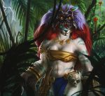 2019 anthro bandeau black_nose breasts digital_media_(artwork) female giant_panda green_eyes hair jungle mammal red_hair safiru solo standing tribal_clothing ursid