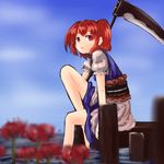 1girl bare_legs belt carrying flower hair_bobbles hair_ornament kys_(k-k2) layered_dress looking_at_viewer onozuka_komachi open_mouth puffy_short_sleeves puffy_sleeves red_eyes red_hair scythe short_hair short_sleeves shoulder_carry sitting solo spider_lily touhou twintails wading water