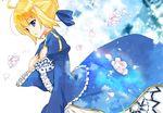 1girl ahoge blonde_hair blue_eyes dress fate/stay_night fate_(series) hair_ribbon hand_on_own_chest petals ribbon saber solo yazawan
