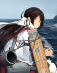 1girl akagi_(kantai_collection) brown_eyes brown_hair cup flight_deck holding_cup kantai_collection looking_at_viewer looking_back ocean quiver scarf shibafu_(glock23) sitting smile solo steam water
