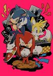 aoki_(fumomo) dj gloves grin headphones knuckles_the_echidna microphone miles_prower no_humans pink_background shoes singing smile sneakers sonic sonic_the_hedgehog speaker