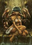 1girl anklet armlet bangle bare_shoulders blue_lips bracelet breasts claws convenient_leg dark_skin extra_legs full_body green_eyes green_hair jewelry long_hair maxa' medium_breasts monster_girl original scorpion scorpion_girl scorpion_tail sitting solo tiara water