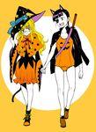 2girls black_hair blush dress eyepatch halloween_costume long_hair multiple_girls perrine_h_clostermann ponytail pumpkin_costume sakamoto_mio smile strike_witches swimsuit walking