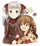 2girls belt blue_eyes bow breasts brown_hair cape coat commentary_request dress green_eyes hair_ornament hair_ribbon hairband lilka_eleniak long_hair low-tied_long_hair multiple_girls open_mouth raquel_applegate ribbon smile twintails two_side_up v wild_arms wild_arms:_million_memories wild_arms_2 wild_arms_4 yellow_hairband