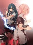 2boys 2girls aqua_eyes black_hair bow_(weapon) brown_eyes brown_hair character_request copyright_request dengeki_bunko eyes_closed holding kuwashima_rein long_hair looking_at_viewer multiple_boys multiple_girls necktie official_art open_mouth pink_hair school_uniform strange_moon weapon