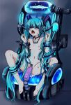 absurdres aqua_hair bdsm blindfold bondage breasts collar dildo frogtie hatsune_miku highres long_hair nude object_insertion open_mouth pussy pussy_juice rape rinkashline sensory_deprivation sex_machine small_breasts twintails uncensored very_long_hair vocaloid