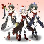 3girls animal_ears autumn_leaves black_hair boots breasts bridal_gauntlets detached_sleeves fan geta gradient gradient_background hat highres himekaidou_hatate inubashiri_momiji kourindou_tengu_costume leaf long_hair looking_at_viewer multiple_girls one_eye_closed pointy_ears pom_pom_(clothes) red_eyes shameimaru_aya short_hair silver_hair sword tokin_hat touhou twintails weapon winks wolf_ears