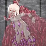 1girl all_the_way_through blush creature_inside dark_skin empty_eyes female fucked_silly inflation leech monster oral original red_eyes stomach_bulge tentacle vaginal white_hair zutsu