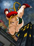 1girl ahoge antenna_hair beret blonde_hair blue_eyes bodypaint braid cameo cammy_white camouflage combat_boots fingerless_gloves from_below gloves hat huge_ahoge jumping leotard long_hair poster_(object) ryuu_(street_fighter) samuel_perez_salinas scar solo street_fighter toned twin_braids