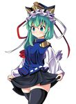 1girl asymmetrical_hair black_legwear blue_eyes green_hair hat hat_ribbon long_sleeves oimo_(imoyoukan) ribbon shiki_eiki shirt skirt skirt_lift solo thighhighs thighs touhou uniform vest wide_sleeves zettai_ryouiki