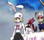 1boy 1girl :3 animal_ears animated animated_gif black_skirt blonde_hair breasts bunny_ears bunny_tail carrot_(one_piece) curvy dress duo female gloves horns large_breasts long_hair one_piece pale_skin short_hair skirt smile tail thighs tony_tony_chopper