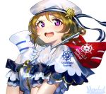 1girl :d artist_name bangs blonde_hair blush capelet commentary_request eyebrows_visible_through_hair flag frilled_gloves frills gloves hands_up hat holding holding_flag koizumi_hanayo looking_at_viewer love_live! love_live!_school_idol_project marshall_(wahooo) open_mouth purple_eyes shirt sidelocks simple_background smile solo star upper_body white_background white_capelet white_gloves white_hat white_shirt wrist_cuffs