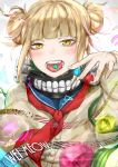 1girl absurdres blonde_hair blue_sailor_collar boku_no_hero_academia borrowed_garments cardigan double_bun fangs highres looking_at_viewer neckerchief open_mouth red_neckwear sailor_collar short_hair solo toga_himiko upper_body wei_miao yellow_eyes