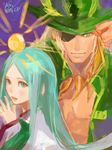 1boy 1girl amaterasu_(p&d) aqua_eyes aqua_hair coat eyepatch green_eyes hands_together hat japanese_clothes jewelry long_hair long_sleeves lotus_(elico) necklace odin_(p&d) puzzle_&_dragons sun