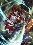 1boy armor brown_eyes brown_hair copyright_name electricity fire_emblem fire_emblem_cipher fire_emblem_if japanese_armor leaf long_hair male_focus nintendo official_art ryouma_(fire_emblem_if) solo sword tree weapon